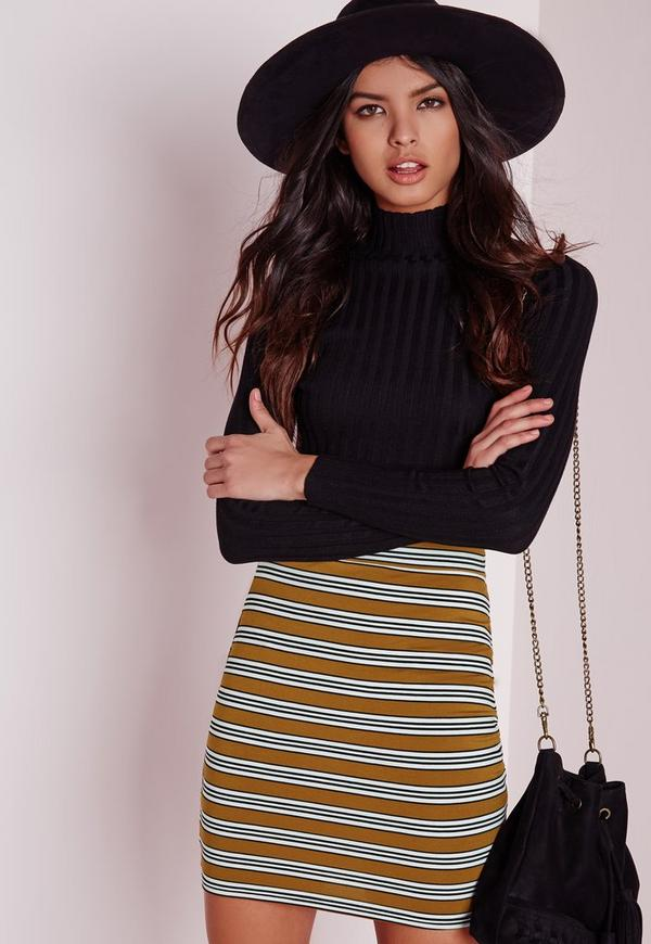 Striped Mini Skirt Mustard