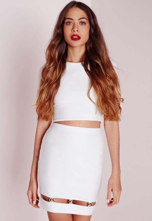 Bar Detail Cut Out Mini Skirt White