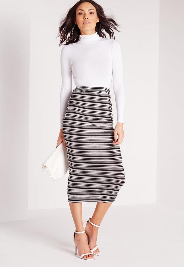 Stripe Longline Midi Skirt Grey