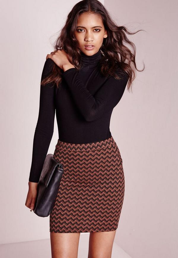 Zig Zag Jacquard Mini Skirt Orange