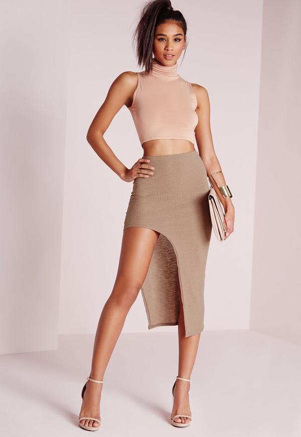 Curve Hem Split Midi Skirt Mocha