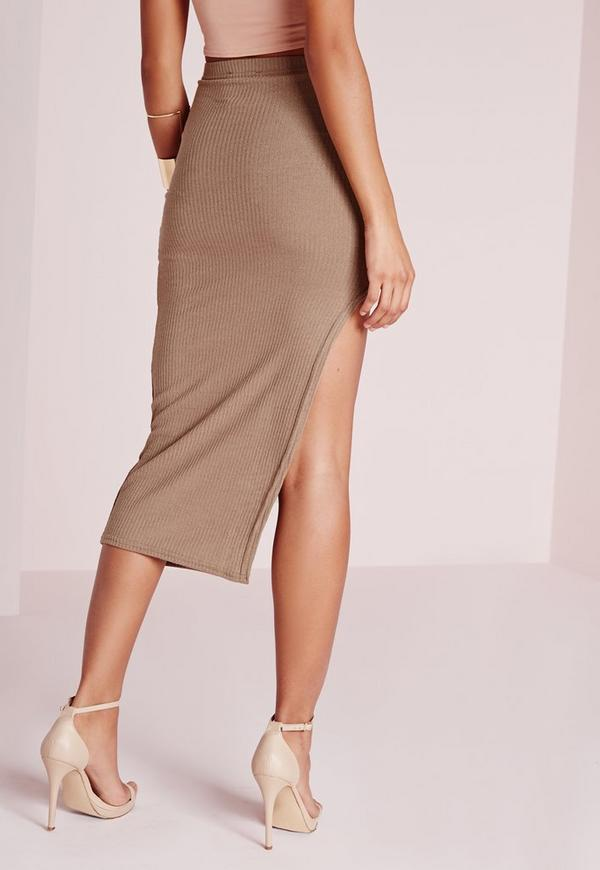 curve hem split midi skirt mocha missguided