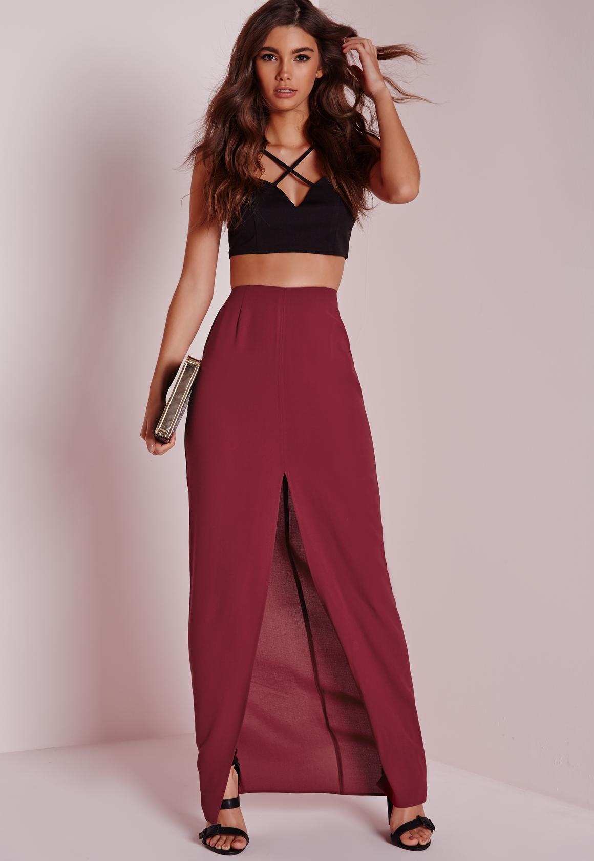 Split Front Maxi Skirt Burgundy - Maxi - Skirts - Missguided