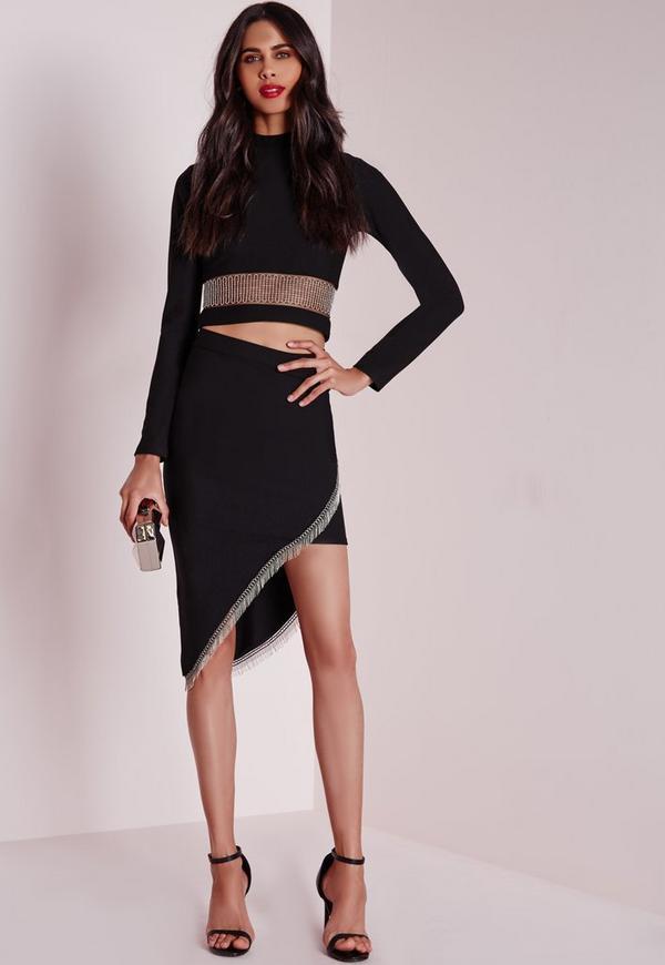 Asymmetric Chain Detail Midi Skirt Black