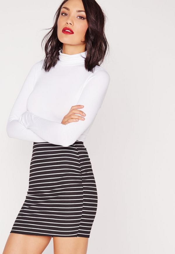Stripe Mini Skirt Monochrome