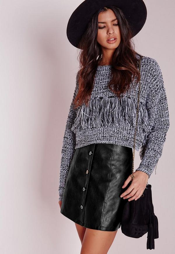 Button Faux Leather Mini Skirt Black