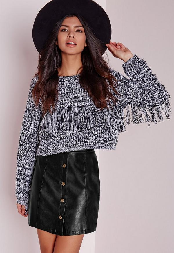 Button Faux Leather Mini Skirt Black | Missguided