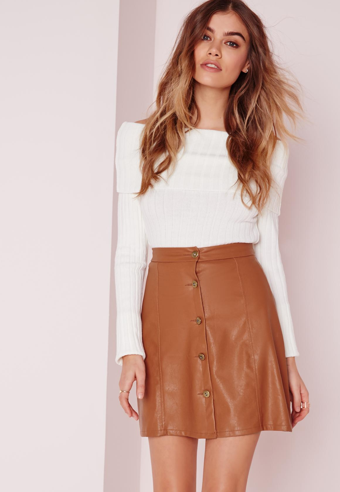 Button Faux Leather Mini Skirt Tan | Missguided