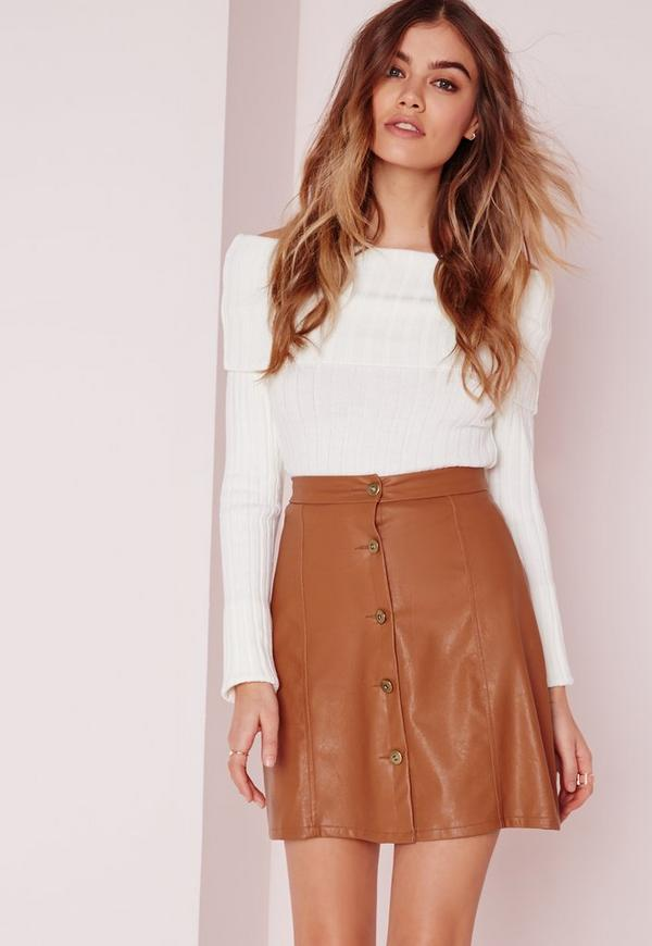 Button Faux Leather Mini Skirt Tan