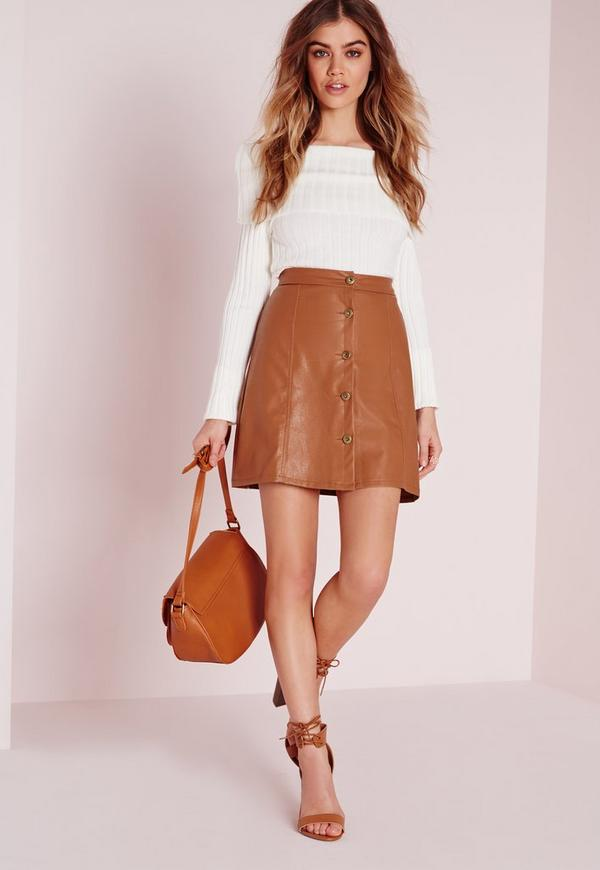 Button Faux Leather Mini Skirt Tan - Faux - Leather - Skirts ...
