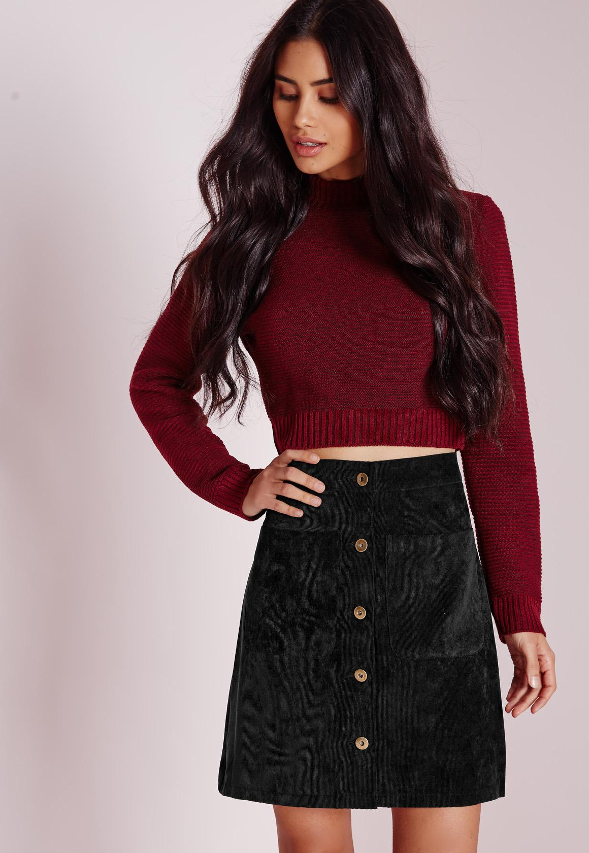 Cord Button A Line Mini Skirt Black   Missguided