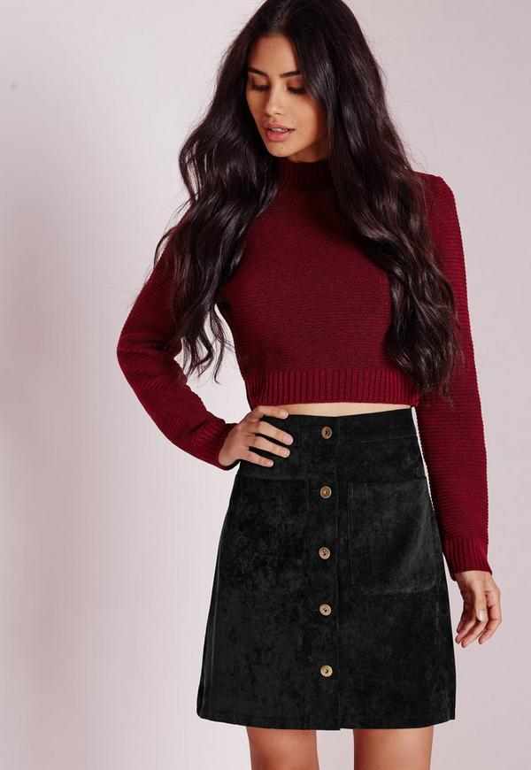 Cord Button A Line Mini Skirt Black