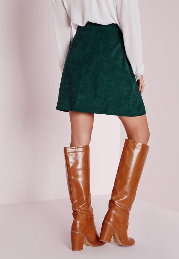 cord button a line mini skirt green missguided