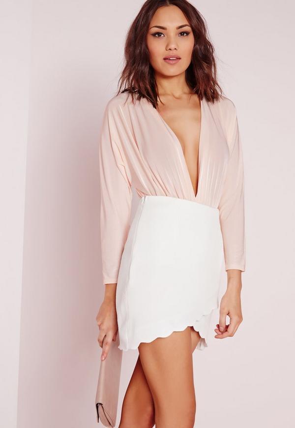Scalloped Hem Mini Skirt White