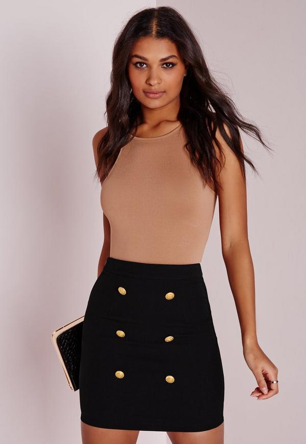 Statement Button Front Mini Skirt Black