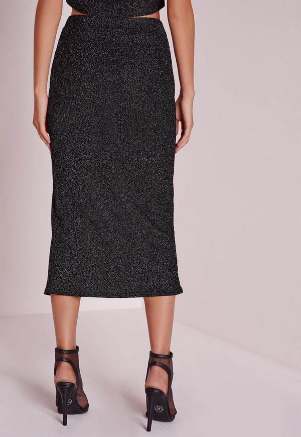 knitted front split glitter midi skirt black missguided