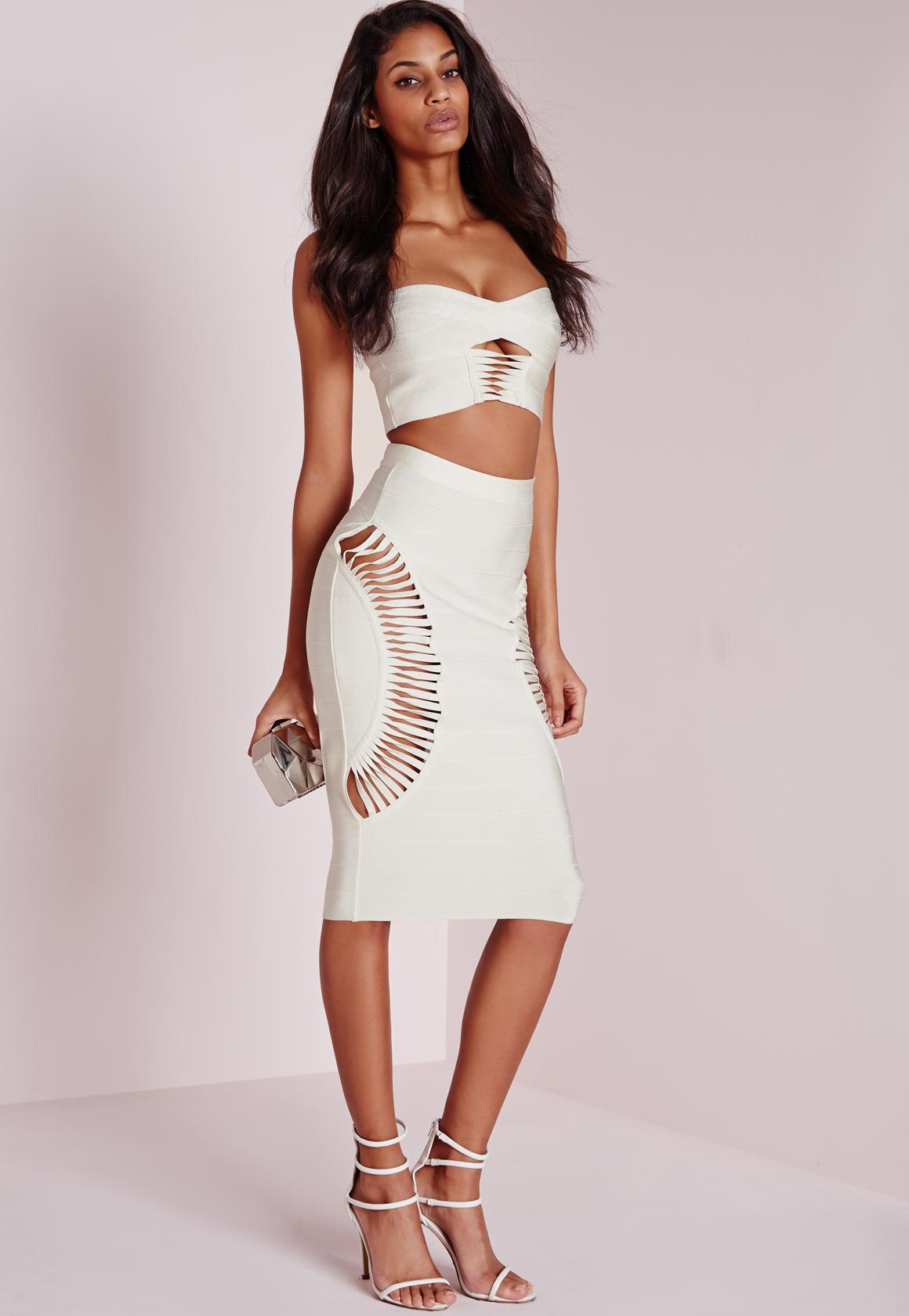 Bandage Cut Out Side Midi Skirt White | Missguided
