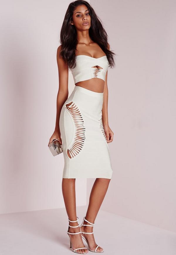Bandage Cut Out Side Midi Skirt White