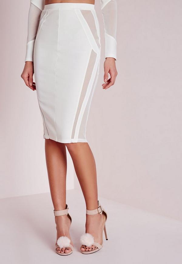 mesh panel midi skirt white missguided