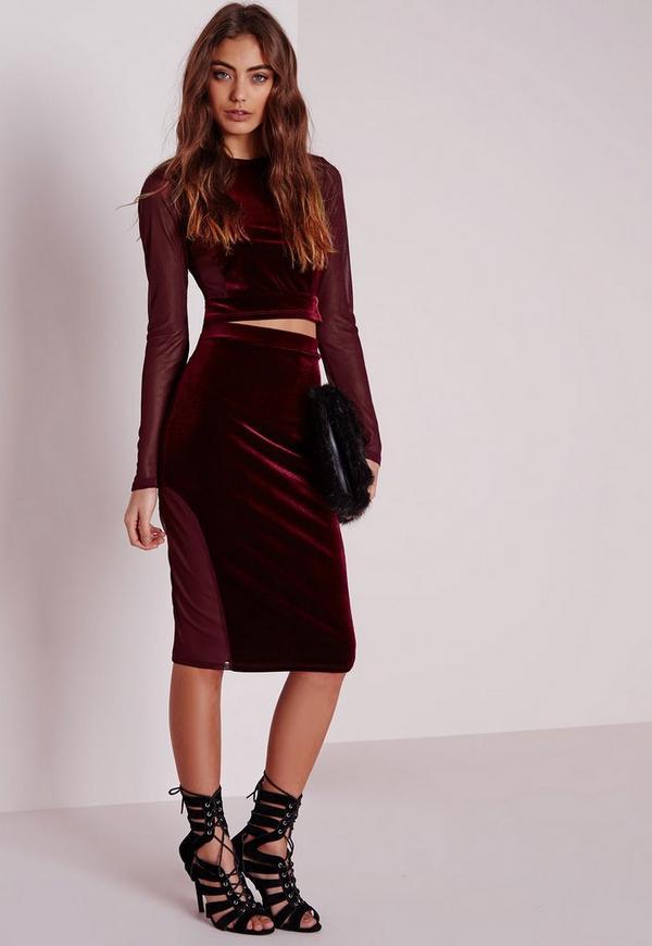Mesh Velvet Midi Skirt Burgundy