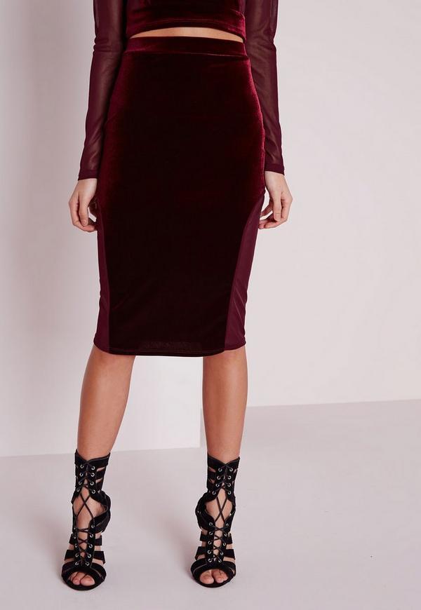mesh velvet midi skirt burgundy missguided