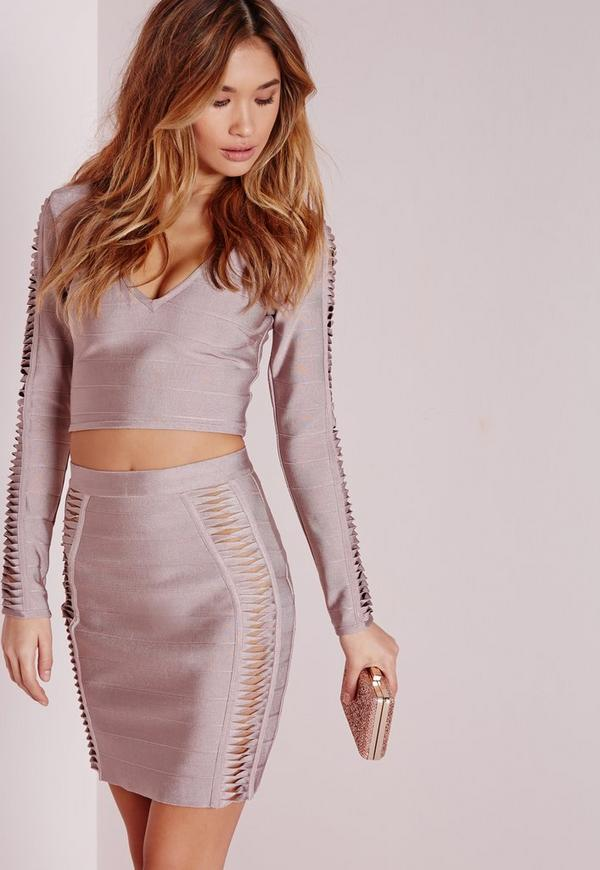 Bandage Cut Out Panel Mini Skirt Mauve