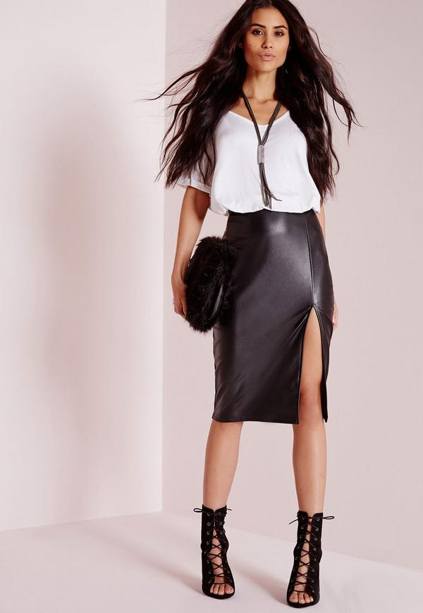 Faux Leather Side Split Midi Skirt Black