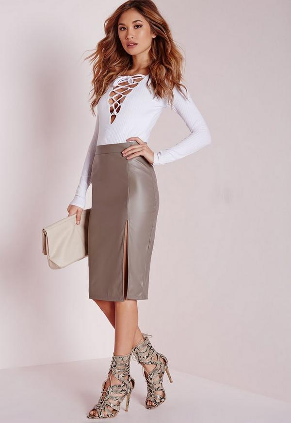 Faux Leather Side Split Midi Skirt Grey
