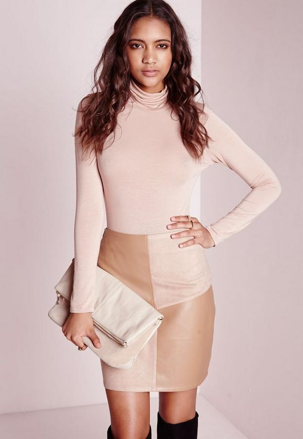 Panelled Suede & Leather A Line Skirt Taupe