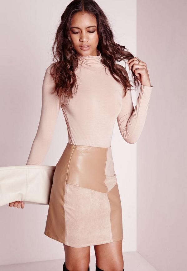 Panelled Suede & Leather A Line Skirt Taupe   Missguided