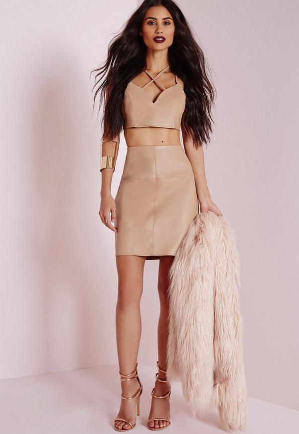 Faux Leather Mini Skirt Camel