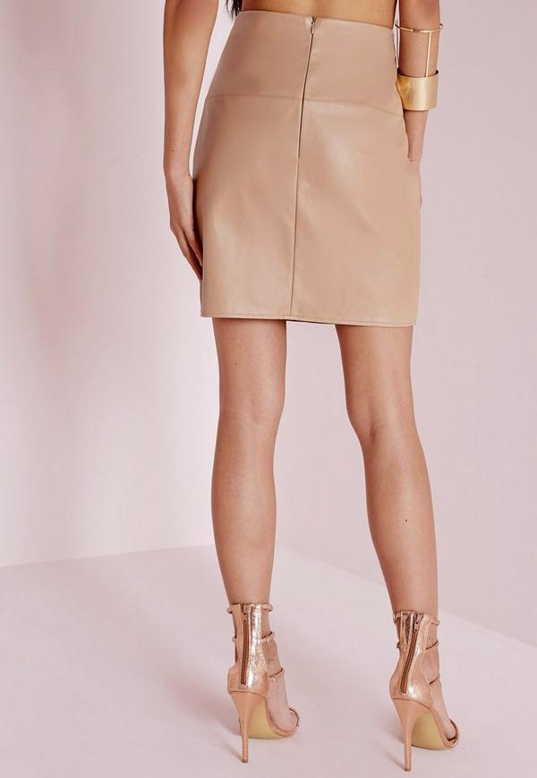 Faux Leather Mini Skirt Camel Previous Next