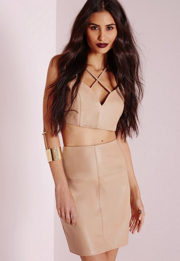 Faux Leather Mini Skirt Camel | Missguided