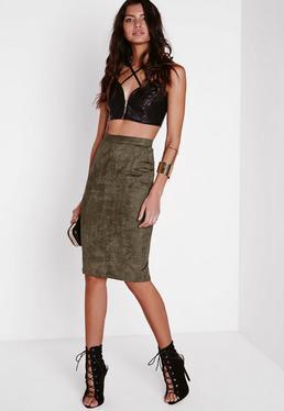 Faux Suede Midi Skirt Khaki
