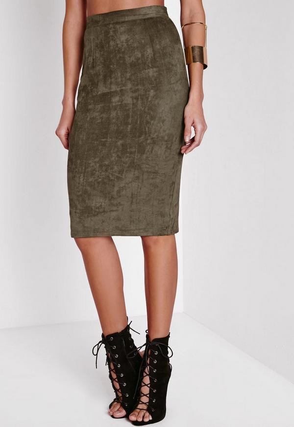 Faux Suede Midi Skirt Khaki   Missguided
