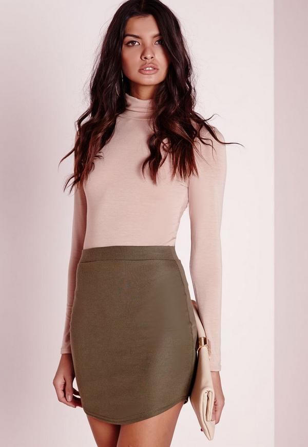 Ponte Curve Hem Mini Skirt Khaki