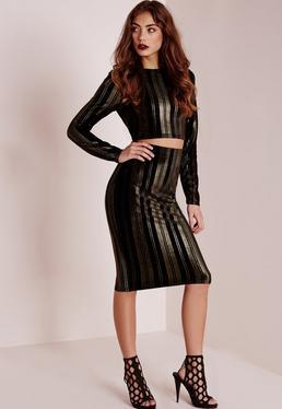 Velvet Gold Stripe Midi Skirt Black