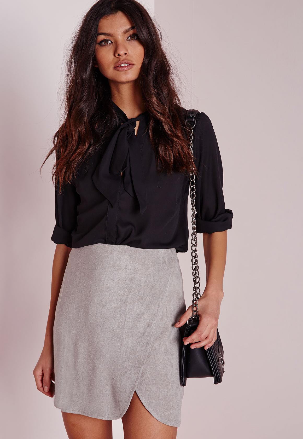 Faux Suede Wrap Mini Skirt Light Grey | Missguided