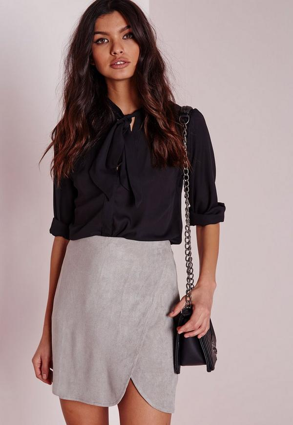 Faux Suede Wrap Mini Skirt Light Grey