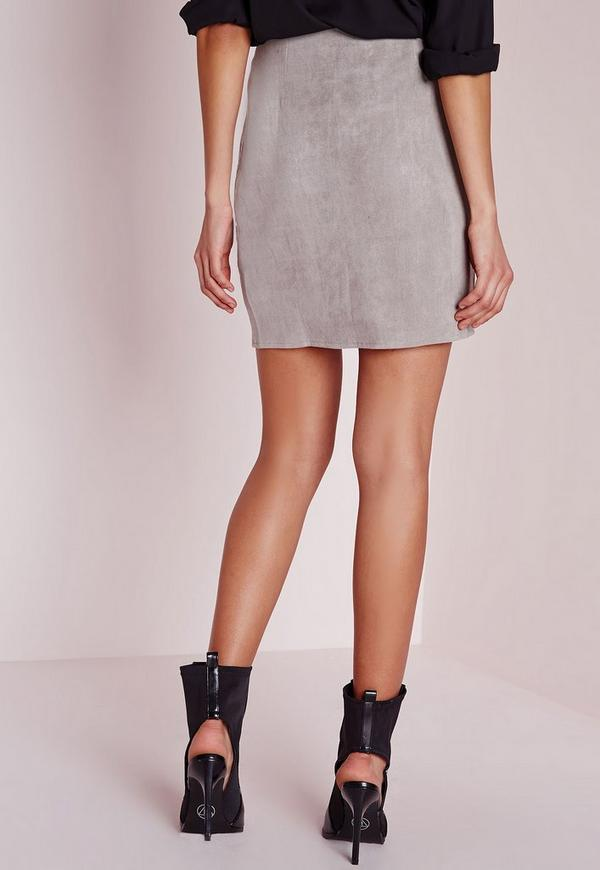 Faux Suede Wrap Mini Skirt Light Grey - Faux - Skirts - Missguided