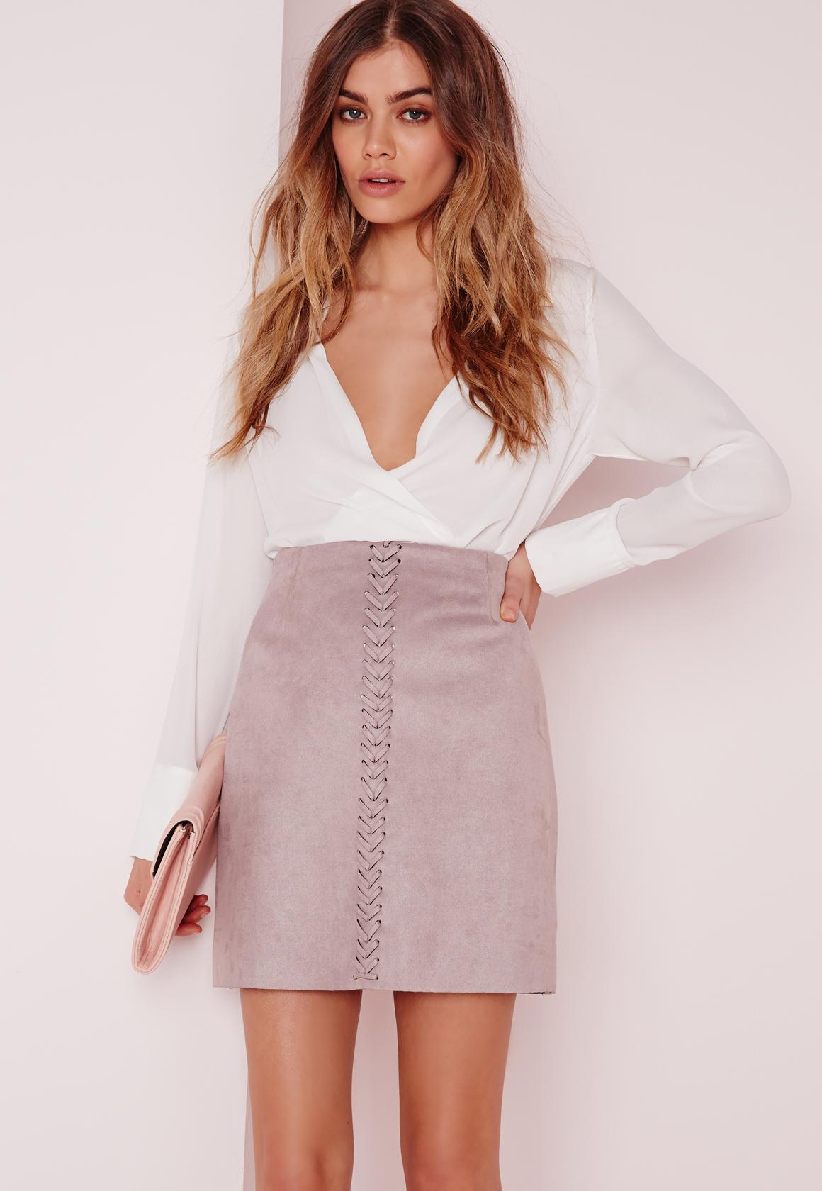 Stitch Front Faux Suede Mini Skirt Lilac | Missguided