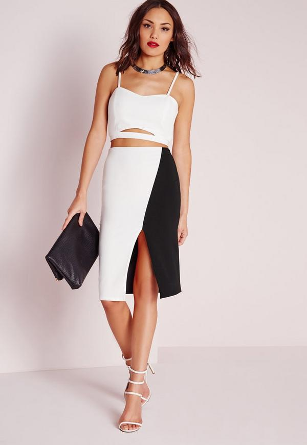 Monochrome Front Split Midi Skirt White