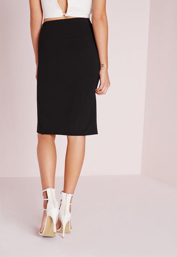 monochrome front split midi skirt white missguided