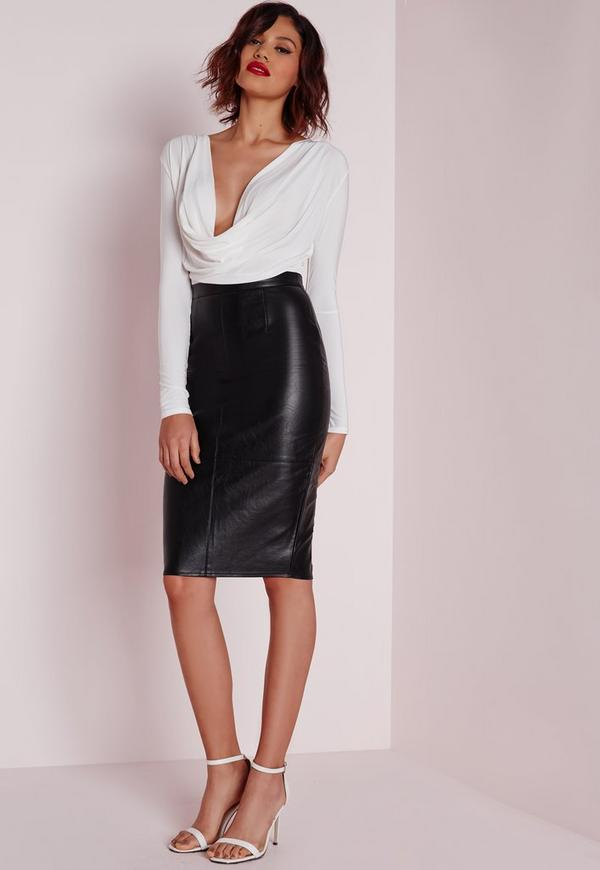 Faux Leather Seam Detail Midi Skirt Black