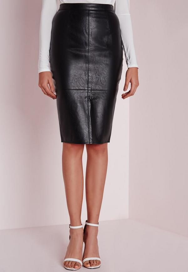 Faux Leather Seam Detail Midi Skirt Black | Missguided