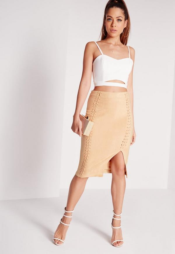 Stitch Detail Midi Skirt Nude