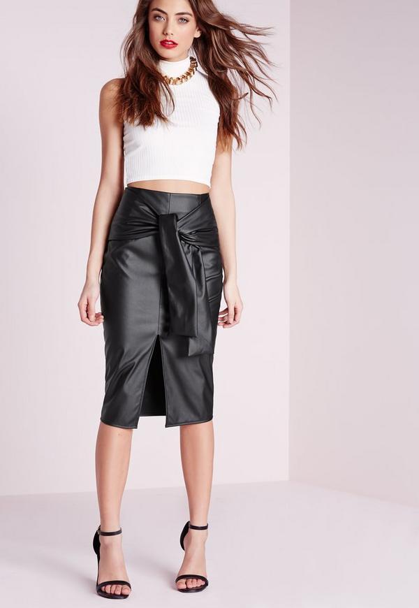 Tie Waist Faux Leather Midi Skirt Black