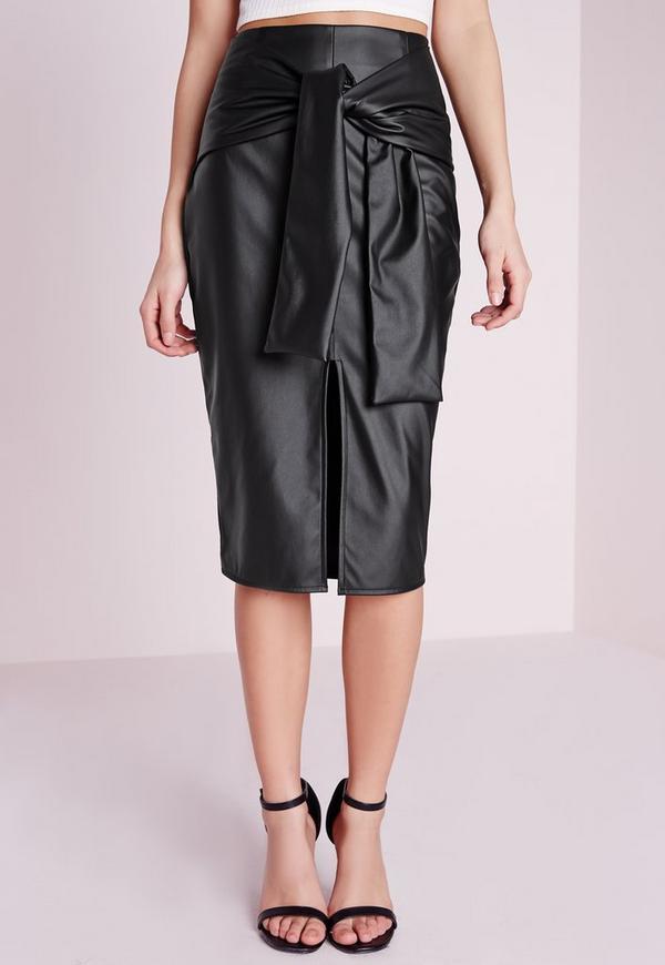 jupe midi noire en simili cuir nou e la taille missguided. Black Bedroom Furniture Sets. Home Design Ideas