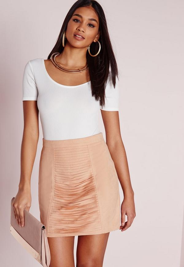 Faux Suede Slash Front Mini Skirt Nude