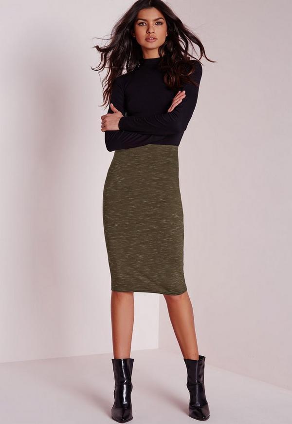 Slub Jersey Midi Skirt Khaki